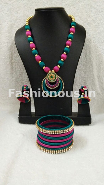 Pink and Green Silk Thread Full Set-STJS-060