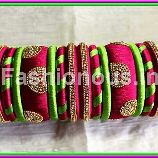 Pink and Light Green  Designer Silk Thread Bangles