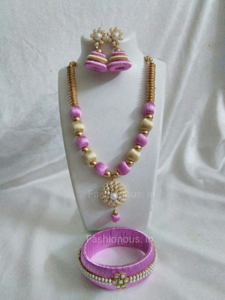 Pink and Off Whit Silk Thread Jewellery Set