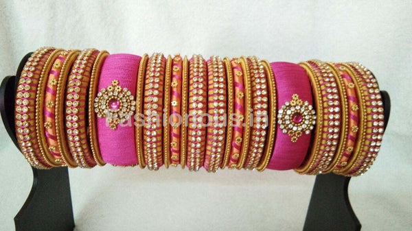 Pink and Orange Floral Stone Worked Silk Thread Bangle Set-STJSW-057