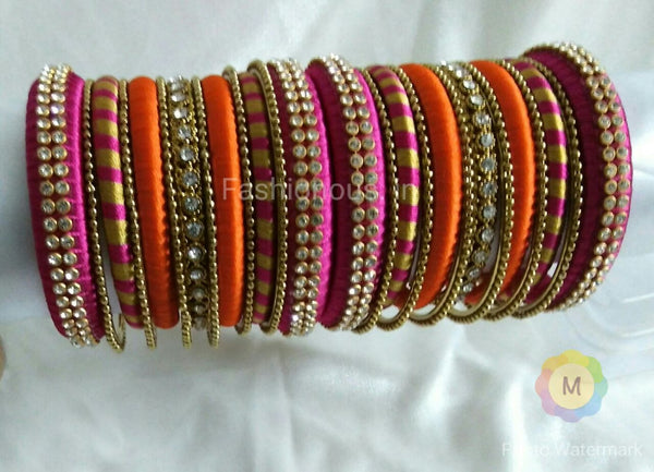 Pink and Orange Silk Thread Bangles