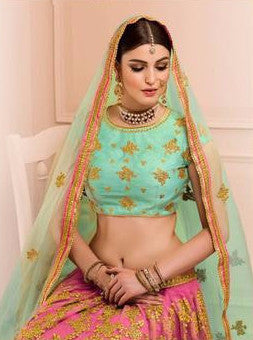 Pink and Sea Green Embroidered Bridal Lehenga