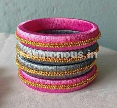 Pink and Turquoise Blue Silk Thread Bangle Set-STBS-010