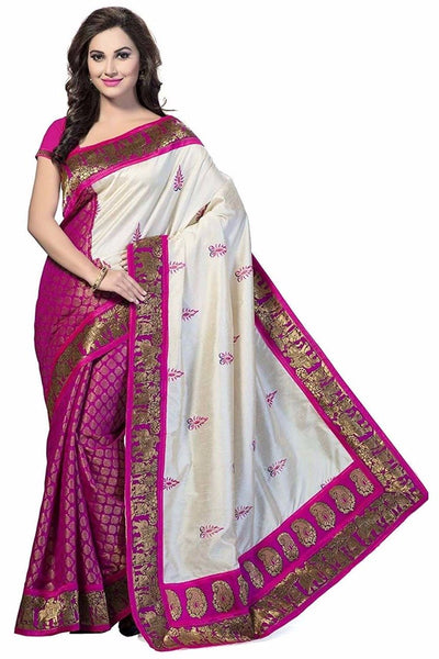 Pink and White Bhagalpuri Saree-SRE-802