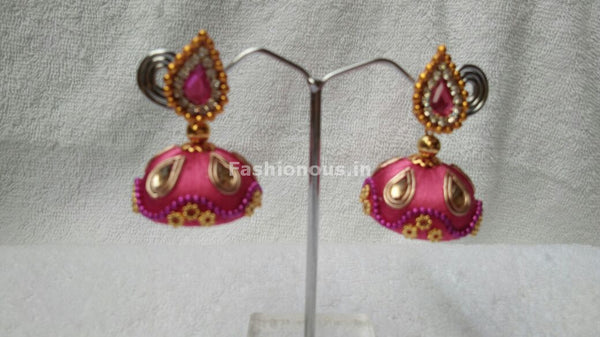 Pink and White Stone Studded Silk Thread Jhumkas-STJH-063