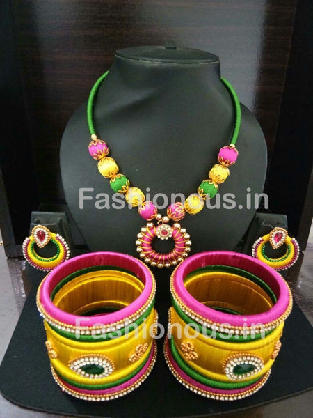 Pink and Yellow Chandbali Pendant Silk Thread Jewellery Set-STJSW-104