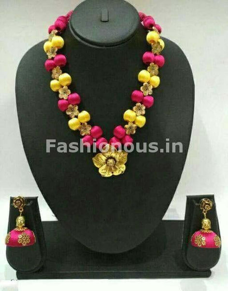 Pink and Yellow Silk Balls with Golden Floral Pendant Silk Thread Jewellery Set-STJS-032