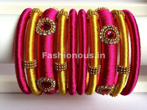 Pink and Yellow Silk Thread Bangle Set-STBS-011