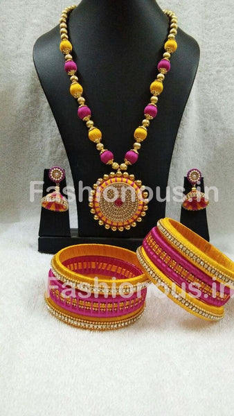 Pink and Yellow Silk Thread Jewellery Set-STJSW-076