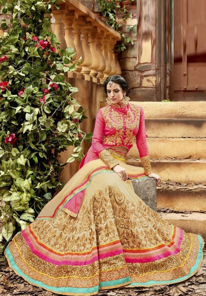 Pink Embroidered Bridal Lehenga