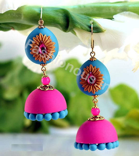 Pink with Blue Golden Floral Jhumka-ZAPCJH-023