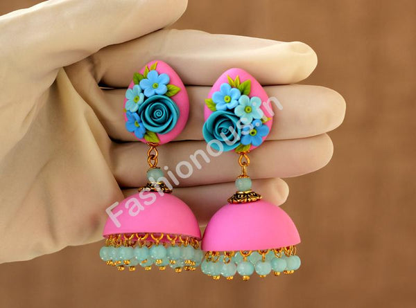 Pink with Blue Rose Floral Jhumka-ZAPCJH-015