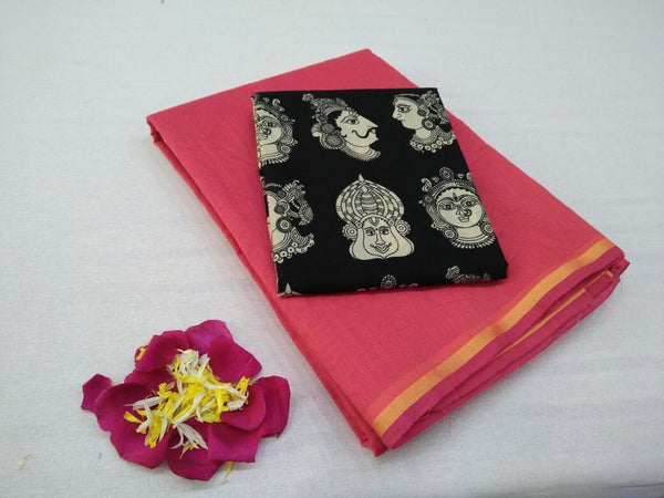 Pink with Face Designed Blouse Fancy Cotton Saree-SRE-758