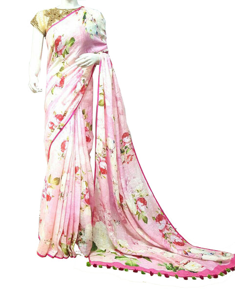 Pink with Floral Printed Linen Saree
