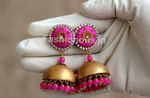 Pink with Golden Floral Jhumka-ZAPCJH-011