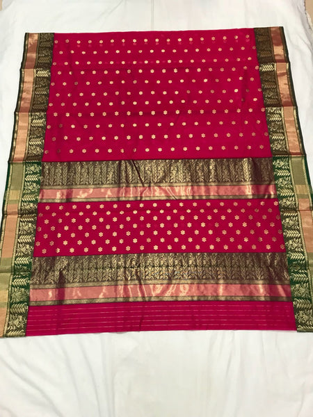 Pink with Green Leaf Designed Border Chanderi Silk Saree-CHANSRE-074