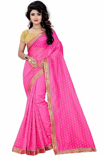 Pink with Jacquard Butti Fancy Cotton Saree-SRE-402