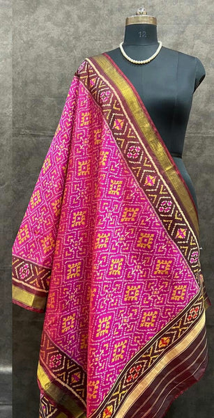 Pink with Magenta  Handwoven Pure Silk Patola Dupatta
