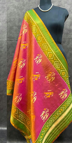 Pink with Parrot Green Handwoven Pure Silk Patola Dupatta