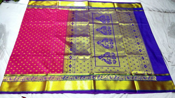 Pink with Peacock Designed Golden Pallu Paithani Saree-PAITHANI-005