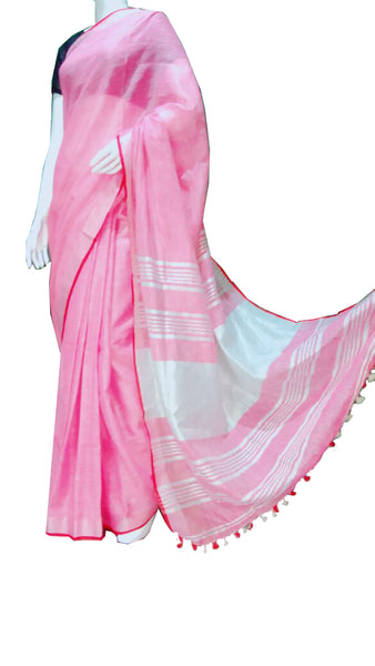 Pink with Red Border Linen Saree
