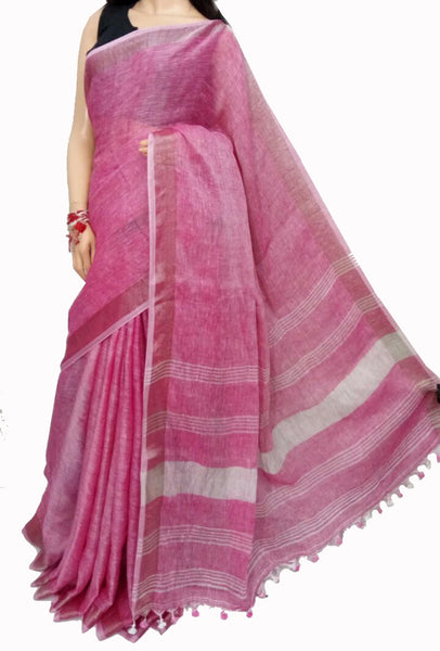 Pink with White Striped Pallu Linen Saree