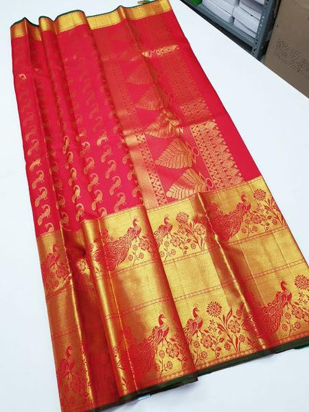 Pink with Peacock border Kanchipuram Bridal Silk Saree BCKS 009