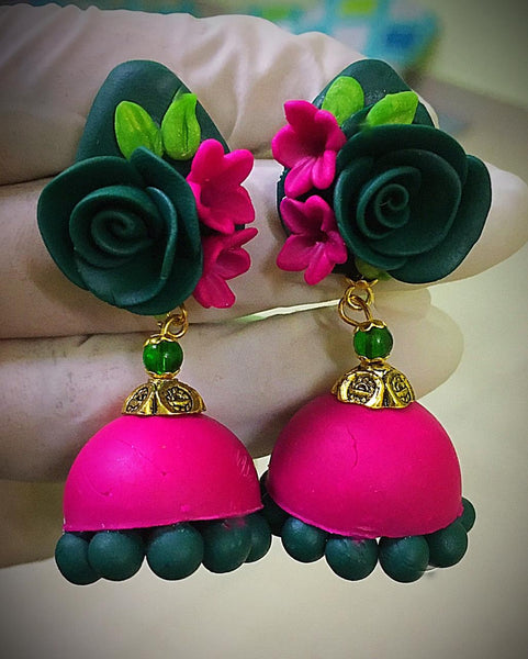 Seaweed Green With Pink Floral Polymer Clay Jhumka