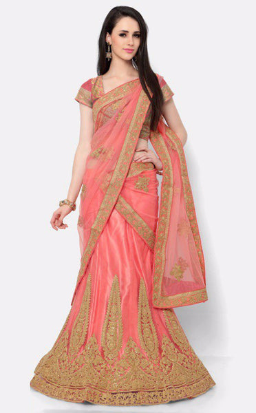 Pinkish Orange Embroidered Bridal Lehenga