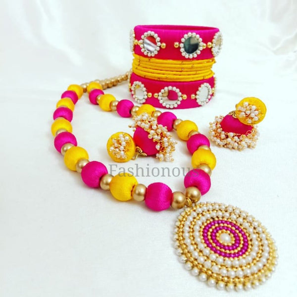 Pink and Yellow Silk Thread Jewelry Set