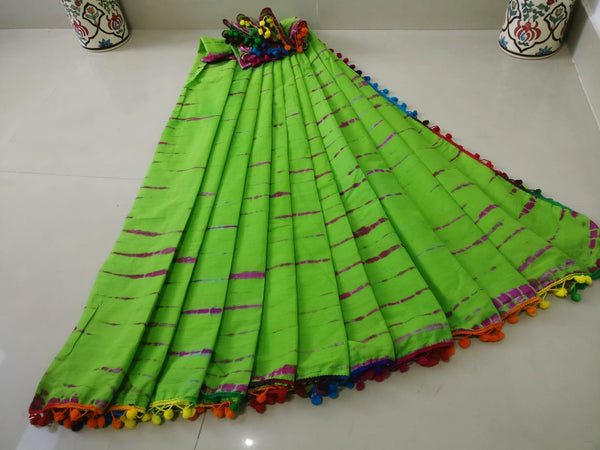 Pista Green Cotton Saree-TCS040