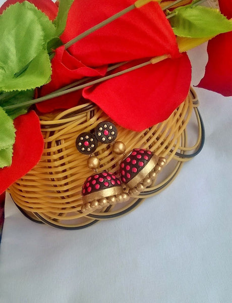 Pretty Pink & Black Terracotta Jhumka