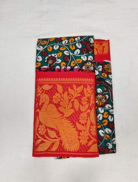 Printed Madurai Sungudi Saree Orange Border