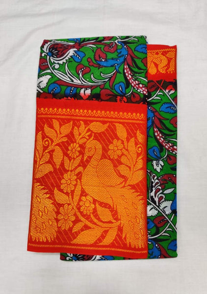 Printed Madurai Sungudi Saree with Contrast Border