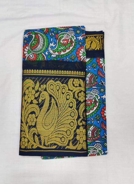 Printed Madurai Sungudi Saree with Peacock Motif Border