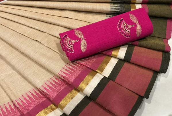 Pure Cotton Saree Light Beige CPC 003
