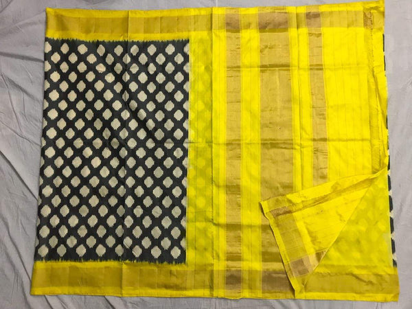 Blooming Dandelion Pure Ikat Silk Saree-006 Yelow and black coloured simple saree