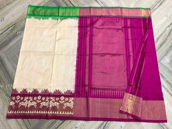 Dewdrop Kiss Pure Ikat Silk Saree-007White and purple coloured attractive saree