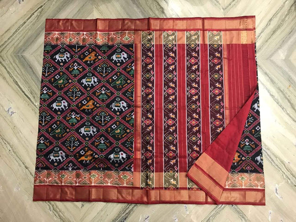 Garnet and Black Pure Ikat Silk Saree-008 Black and red coloured traditional saree