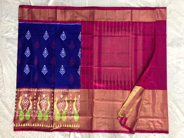 Blue-Purple Orchid Pure Ikat Silk Saree-010 Blue and magenta coloured traditional saree