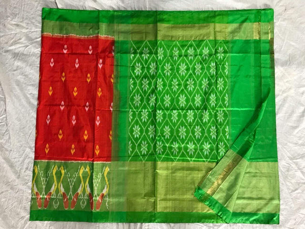Kelly Classic Pure Ikat Silk Saree-011 Red and green coloured traditional saree