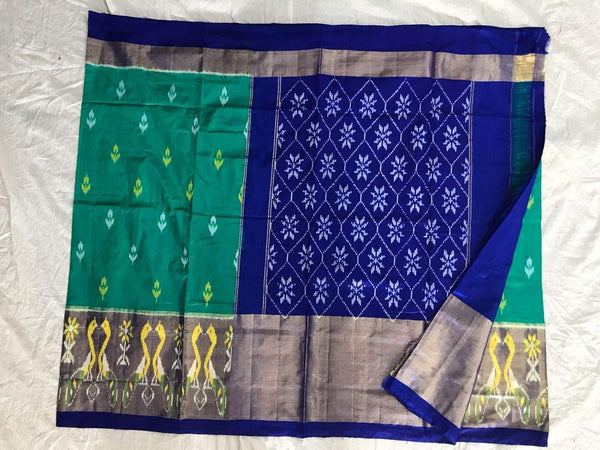Aesthetic Aquamarine Pure Ikat Silk Saree-016 Blue & green colour partywear