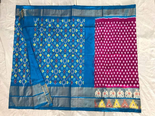 Aster Shine Pure Ikat Silk Saree-020 Blue and pink traditional sari