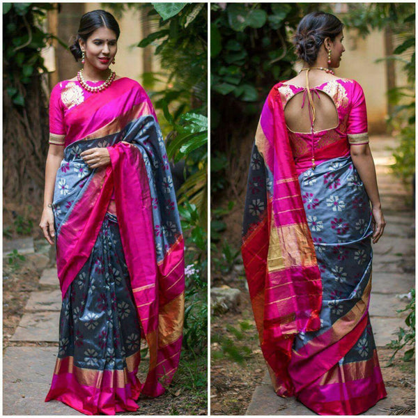 Aegean Princess Pure Ikat Silk Saree-028 Grey-blue and magenta coloured
