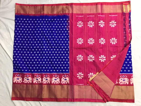 Admiral Bliss Pure Ikat Silk Saree-034 Blue and magenta coloured saree