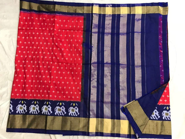 Red Red Rose Pure Ikat Silk Saree-035 Red and blue coloured lightweight saree