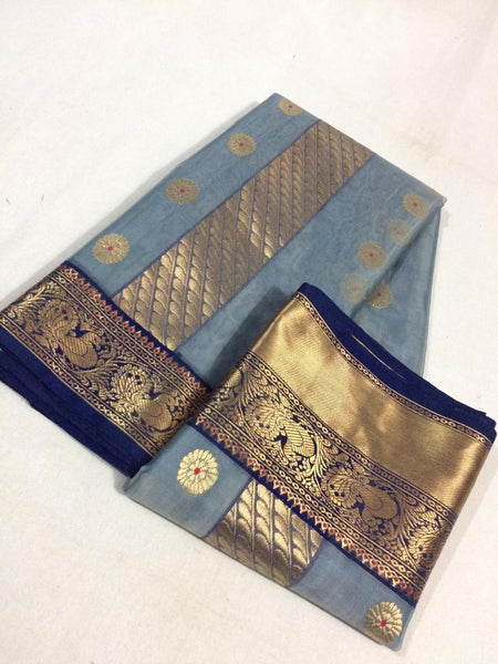 Pure Katan Silk Chanderi Saree with Peacock Motif