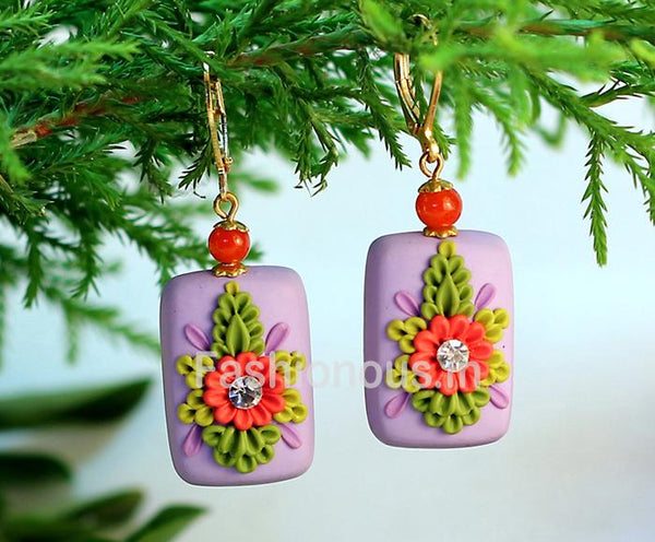 Purlpe Floral Rectangular Polymer Clay Earrings-ZAPCJH-053
