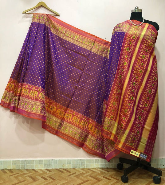 Purple Dotted Red Elephant Designed Border Patola Silk Saree-PPSRE-047