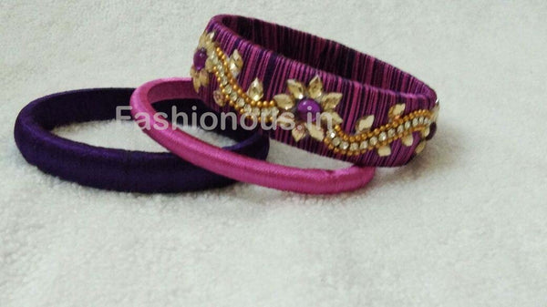 Purple Floral Stone Worked Silk Thread Bangle Set-STJSW-064